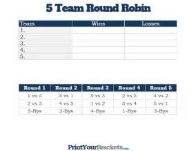 5 team round robin printable tournament bracket