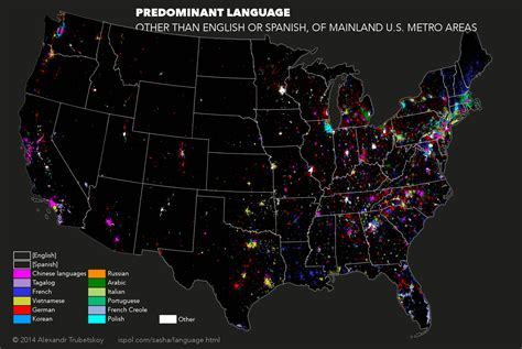 united states map with cities in spanish the foreign languages spoken in every single u s city mic