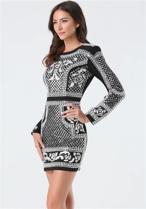 Bebeo More Beautiful Clothes From by Bebe Embellished Crepe Mini Dress In Metallic Lyst