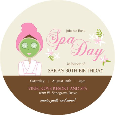 spa invitations templates free spa invitations and brown floral spa