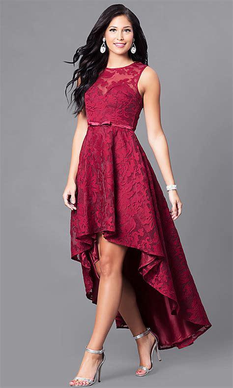 sleeveless high  lace semi formal dress promgirl