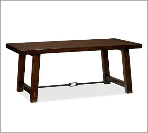 Benchwright Fixed Dining Table Benchwright Fixed Dining Table Rustic Mahogany Stain Pottery Barn 74 Quot Wide X 38 Quot X 30