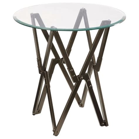 glass top accent table bronze accent table with round bevel glass top