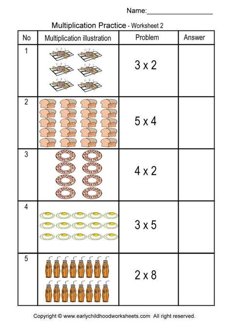 Multiplication Worksheets With Pictures multiplication with pictures illustrations worksheet 2
