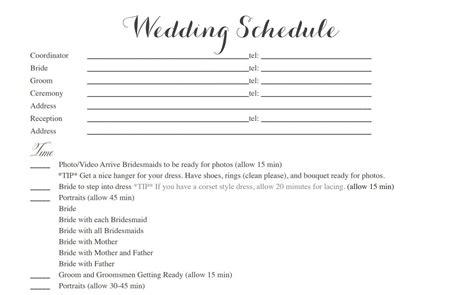 free wedding day itinerary template wedding ceremony itinerary wedding ideas