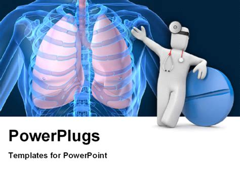 Powerpoint Template Medical Concept With Doctor And Blue Lung Ppt Templates Free