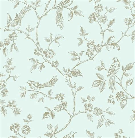 shabby chic duck egg blue and gold birds in floral branches wallpaper