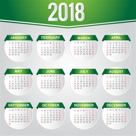 Calendar 2018 Template Vector Green Calendar 2018 Template Vector Design Vector