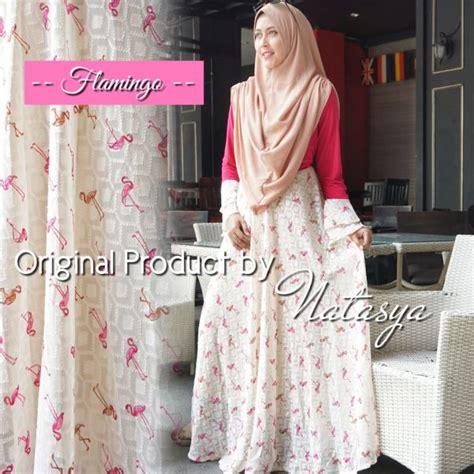 Gamis Syari Sifon baju muslim kombinasi flaminggo syari gamis modern