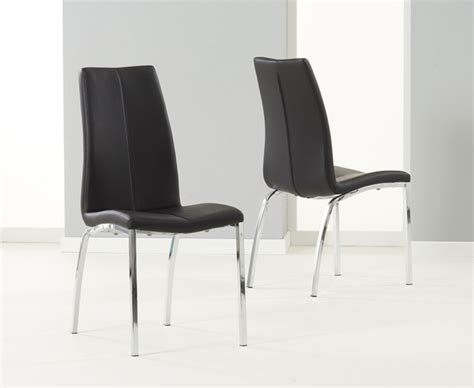 renzo black chrome dining chairs pair