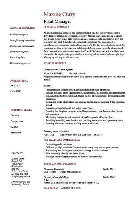 resume sle for production manager manufacturing plant manager resume sle 28 images