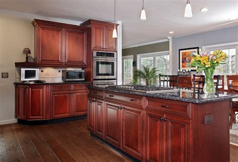 Kitchen Paint Colors With White Cabinets And Black Granite by Dark Cherry With Gray Accents Traditional Kitchen