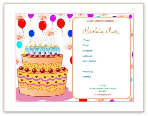 birthday invites templates microsoft word templates birthday invitation templates