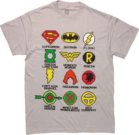 Justice League Pixel Logos T Shirt