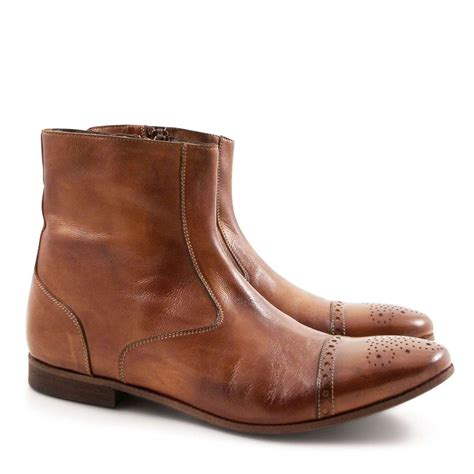 Handmade Booties - s perforated toe flat ankle boots in whisky leather