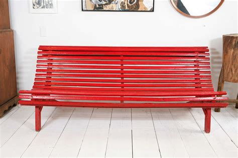 red outdoor bench curved red italian outdoor slatted garden bench at 1stdibs