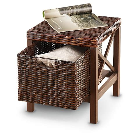 Rattan Storage Ottoman Wood Rattan Storage Ottoman 229612 Housekeeping Storage At Sportsman S Guide