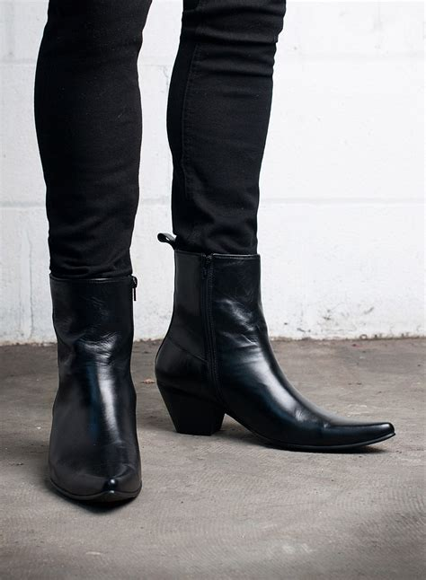kid leather blamens winklepicker boot zip cuban heel black
