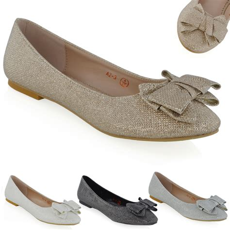 sparkly shoes flats new womens ballerina pumps bow sparkly glitter