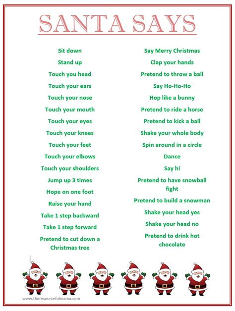 family fun dares for christmas free printable quot santa says quot simon says with a spin for school hol