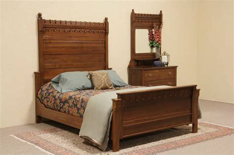 sold eastlake 1880 antique oak size bedroom set