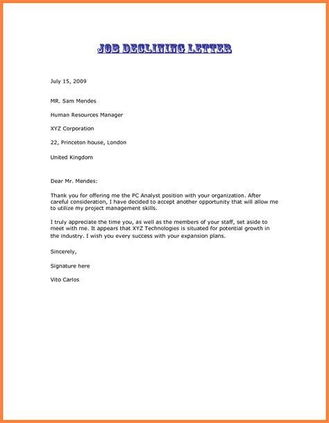 offer rejection letters 10 free sample example format download