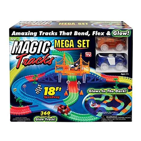 light up race track magic tracks mega set with red blue car as seen on tv