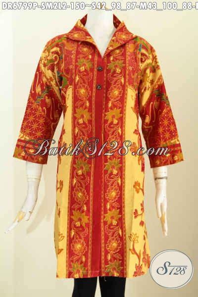 Baju Wanita Dress V baju batik wanita buat kerja dress batik berkelas model