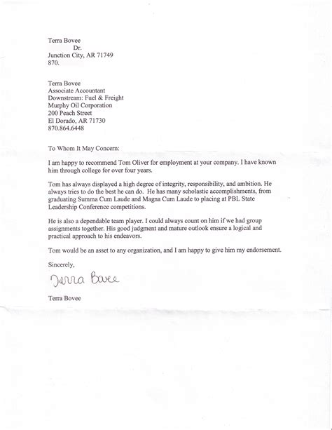 Letter Of Recommendation Professional professional references tom oliver cv