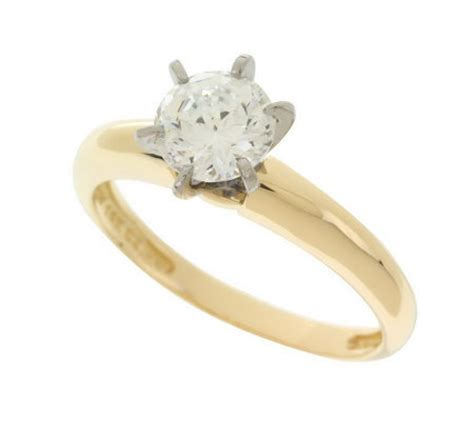 diamonique 100 facet 1 ct tw solitaire ring 14k gold