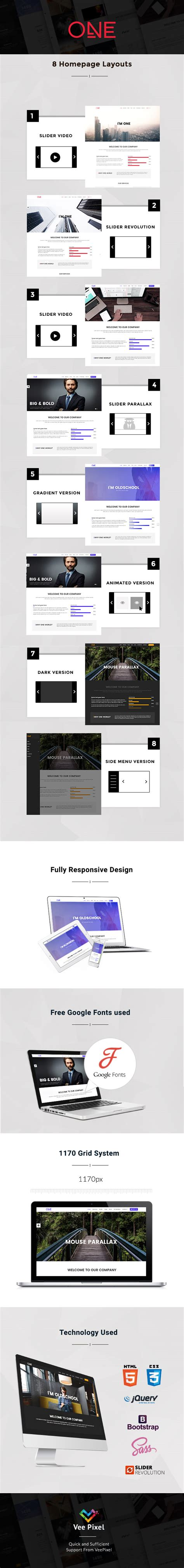 free download one parallax html template nulled version