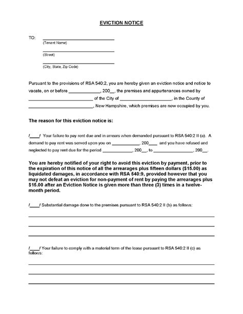 printable eviction notice arkansas new hshire eviction notice ez landlord forms