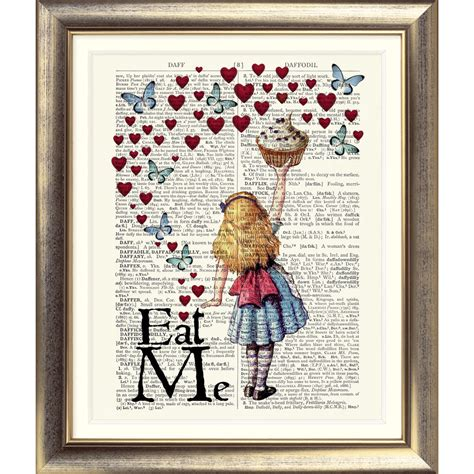 Art Print On Original Antique Book Page Vintage Alice In Wonderland Picture Wall Ebay Book Page Print