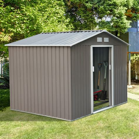 outsunny  garden storage shed steel garage utility