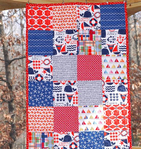 Nautical Crib Quilt by Sailboat Crib Size Quilt Nautical Theme Ready To By