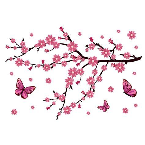 fiori di ciliegio e farfalle adesivo murale fiori di ciliegio con farfalle