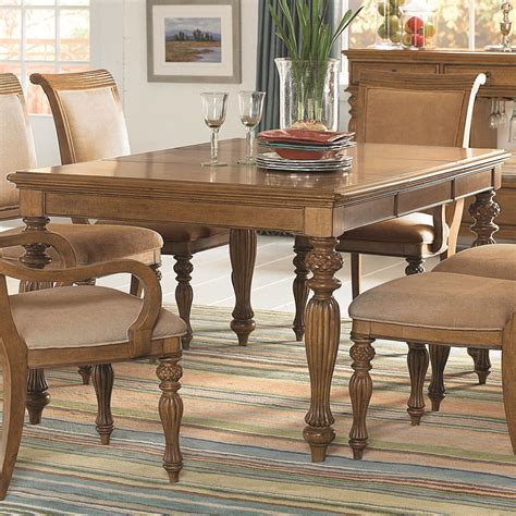 island inspired rectangular turned leg dining table with