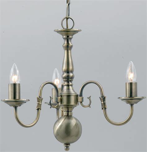 Universal Lighting Fixtures Flemish Solid Brass 3 Light Chandelier Antique Finish