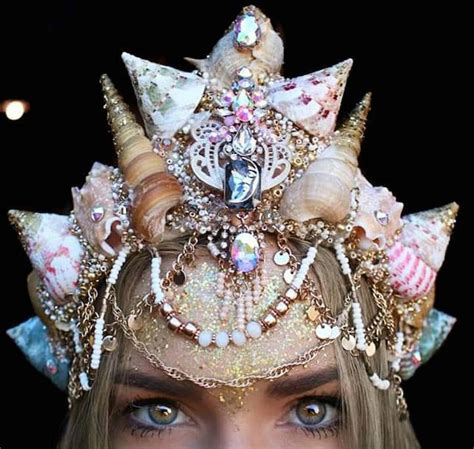 Cheerful Fantasia Flowercrown Flower Crown dazzling crowns adorned with seashells transform into modern day mermaids