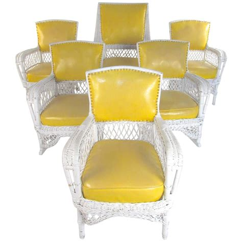 vinyl wicker patio furniture set of six vintage wicker and vinyl chairs mid century