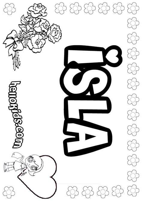 coloring book for names isla coloring pages hellokids