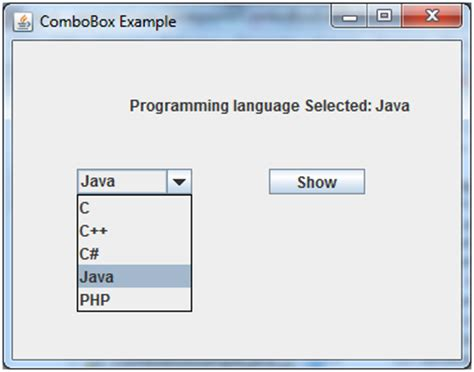 java swing box java jcombobox javatpoint