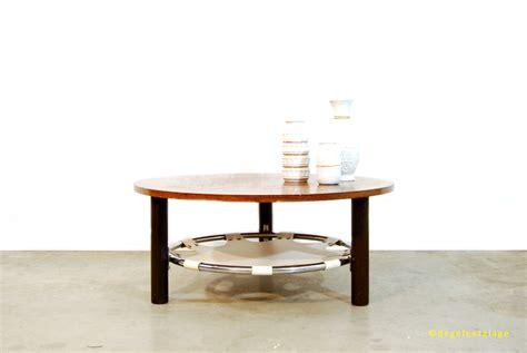 ronde salontafel sale sale vintage ronde houten salontafel met skai leren