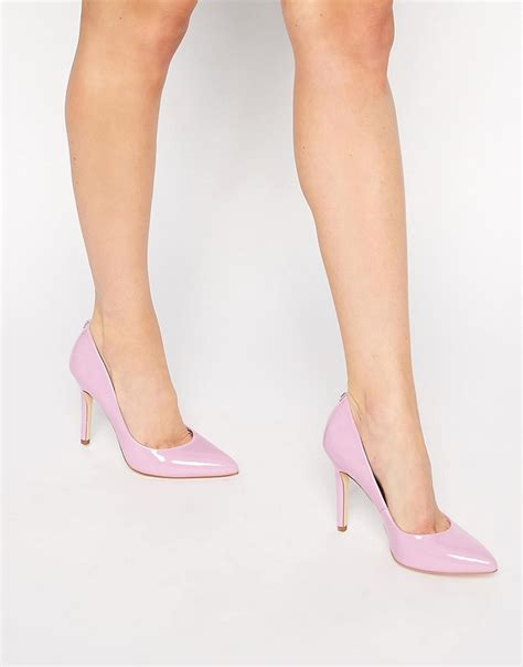 pink faith callaways pink patent heeled court shoes at asos