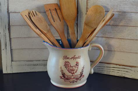 country kitchen utensil holder painted ceramic country kitchen utensil holder