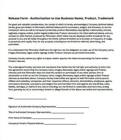 logo release form template release form template 10 free pdf documents