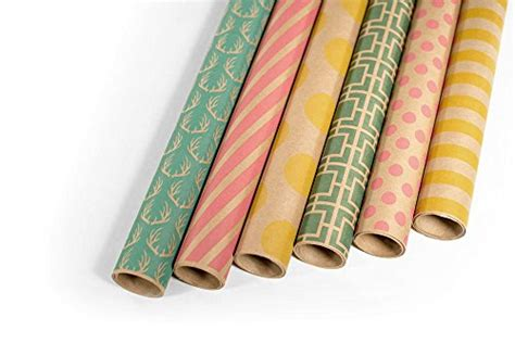 patterned kraft paper rolls kraft multi color printed wrapping paper set 6 rolls for