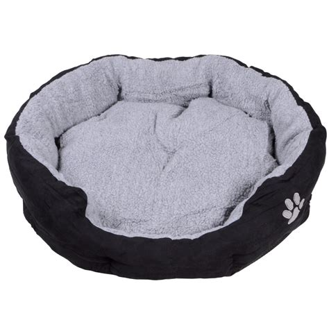 large round dog bed large round oval faux suede cushioned dog puppy pet animal