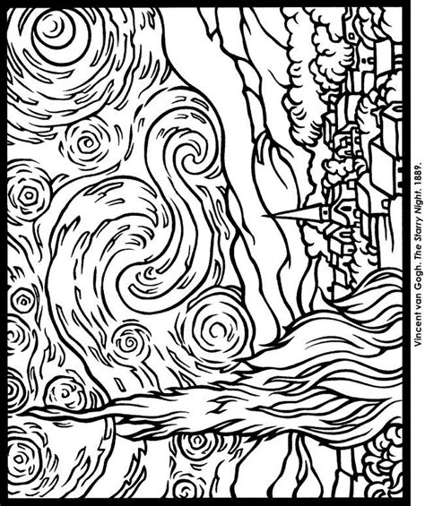 coloring pages van gogh starry starry night starry night coloring pages az coloring pages