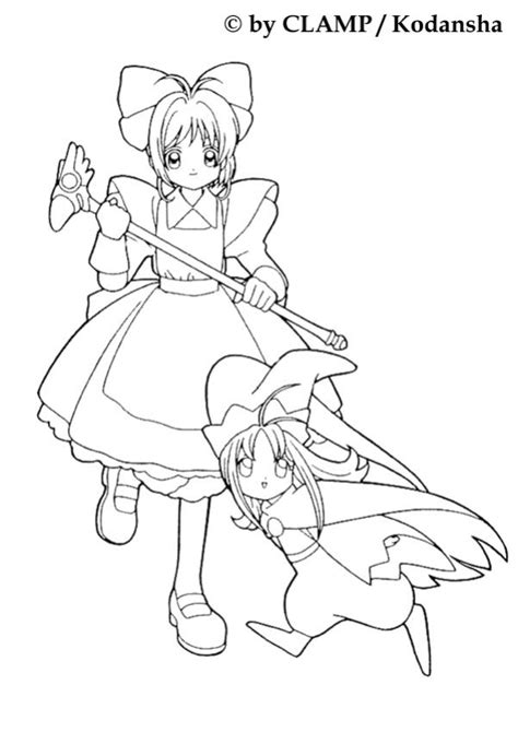 Sakura and a little girl coloring pages - Hellokids.com